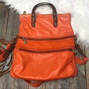 Fossil Explorer Bag Orange Leather Crossbody